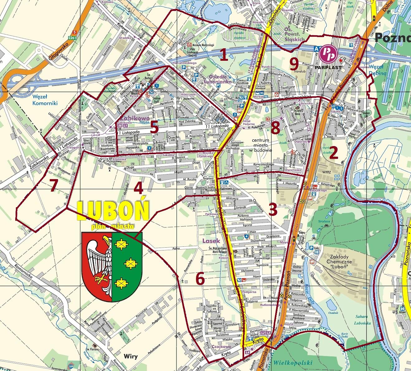mapa Luboń rejony