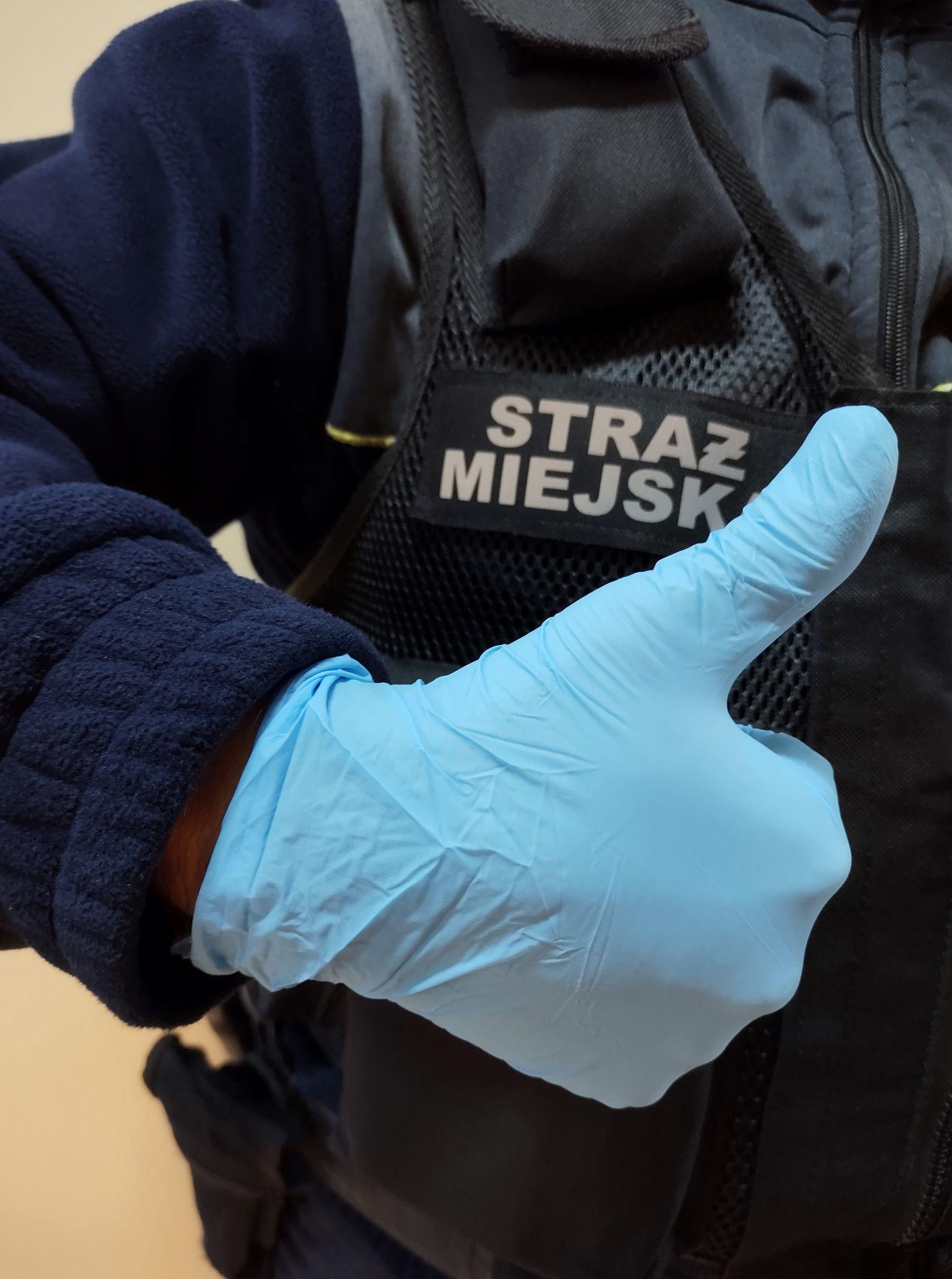 Zdjęcie przedstawia rękę strażnika miejskiego w rękawiczce ochronnej z uniesionym kciukiem na znak OK