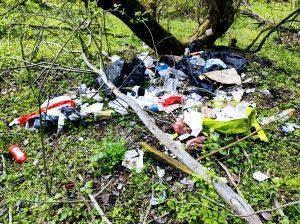 Zdjęcie przedstawia nielegalne wysypisko odpadów
